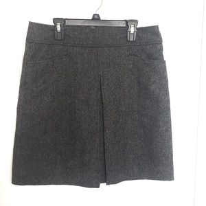 Fully Lined Wool Blend Front Pleated Skirt